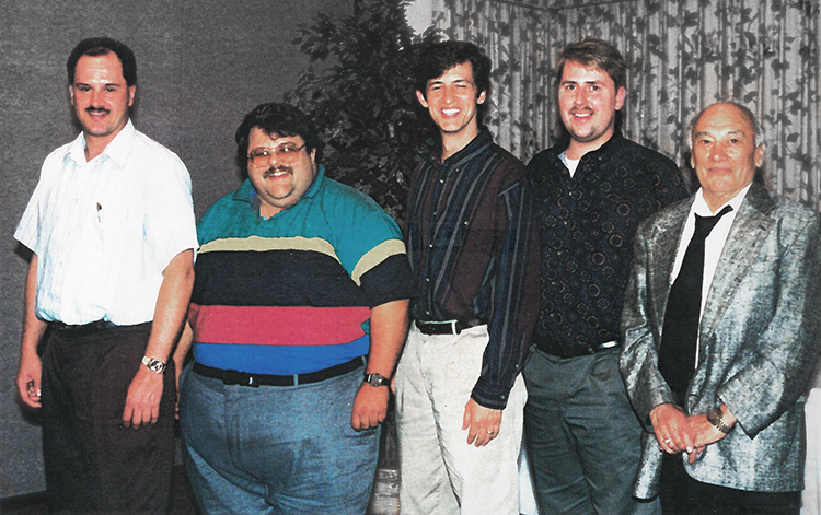 Photograph of Mike Fisher, Mark Pullam, Brad Darcy, Cy Hill and Joe Lane Senior.